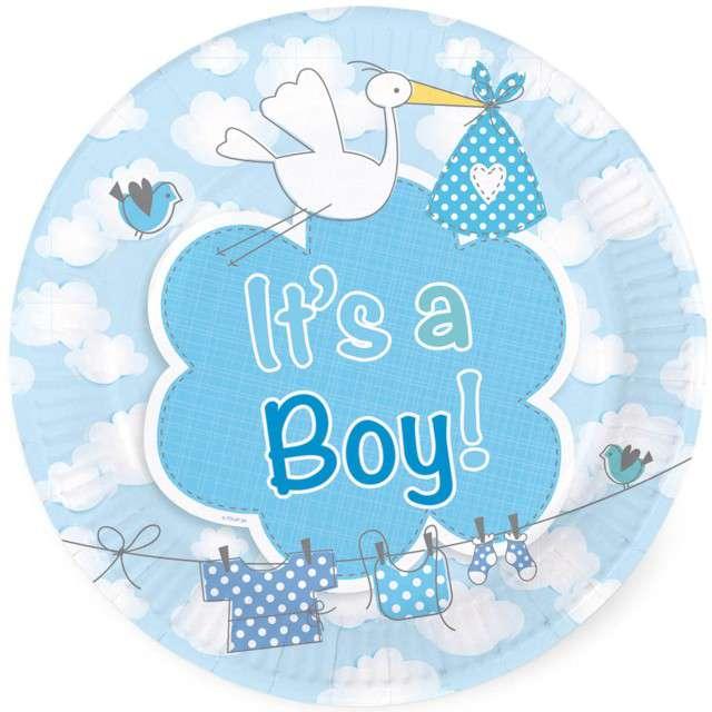 """Talerzyki papierowe """"Its a Boy"""", 18 cm, FOLAT, 8 szt"""