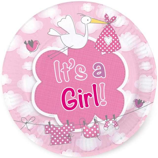 """Talerzyki papierowe """"Its a Girl"""", 18 cm, FOLAT, 8 szt"""