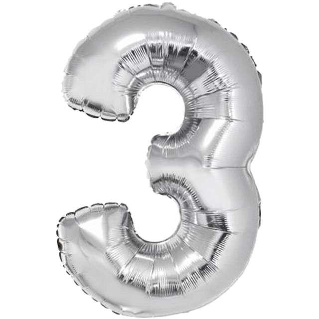 "Balon foliowy cyfra 3, 34"", GoDan, srebrna"