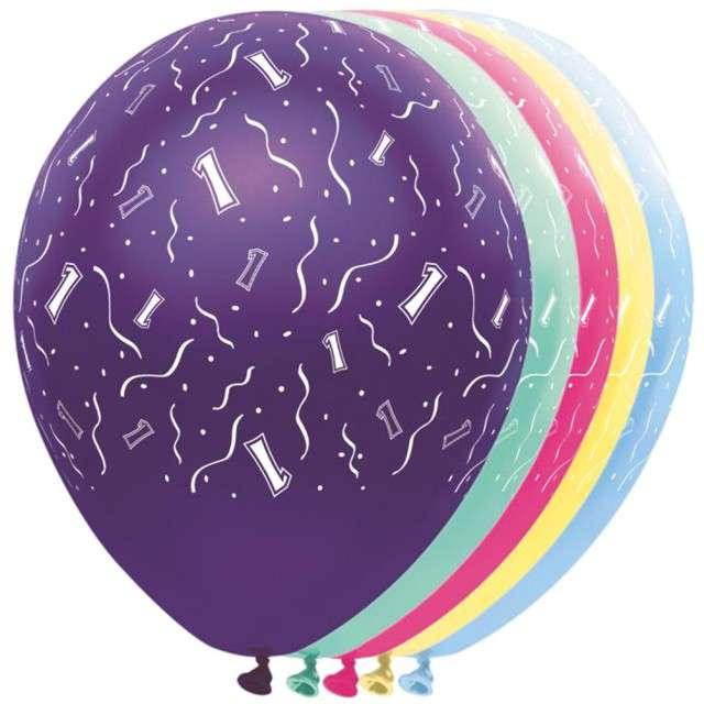 """Balony """"1 Urodziny"""", FOLAT, mix, 12"""", 5 szt"""