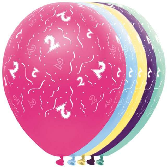 """Balony """"2 Urodziny"""", FOLAT, mix, 12"""", 5 szt"""