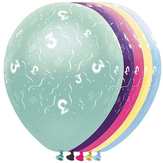 """Balony """"3 Urodziny"""", FOLAT, mix, 12"""", 5 szt"""