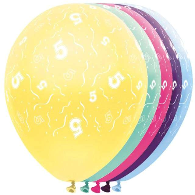 """Balony """"5 Urodziny"""", FOLAT, mix, 12"""", 5 szt"""