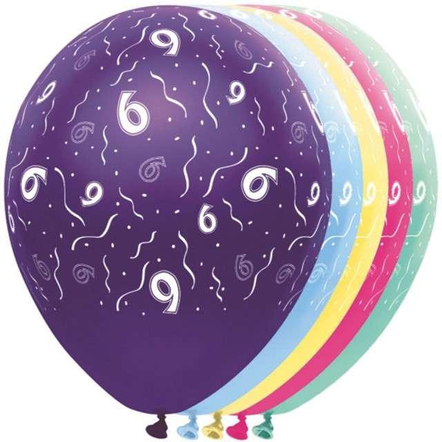 """Balony """"6 Urodziny"""", FOLAT, mix, 12"""", 5 szt"""