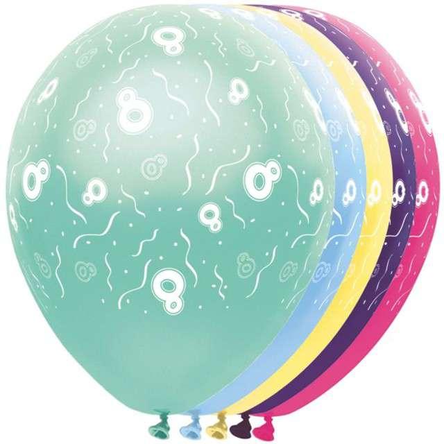 """Balony """"8 Urodziny"""", FOLAT, mix, 12"""", 5 szt"""