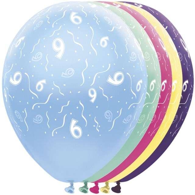 """Balony """"9 Urodziny"""", FOLAT, mix, 12"""", 5 szt"""