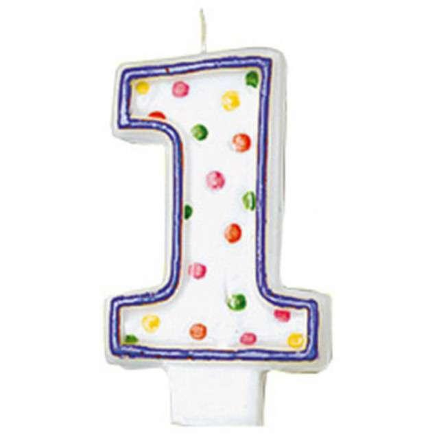 """Świeczka na tort """"1"""", AMSCAN, kropeczki, 8 cm"""