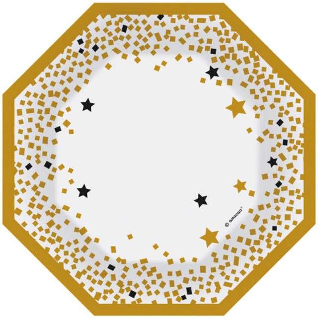 """Talerzyki papierowe """"Golden Wishes"""", AMSCAN, 18 cm, 6 szt"""