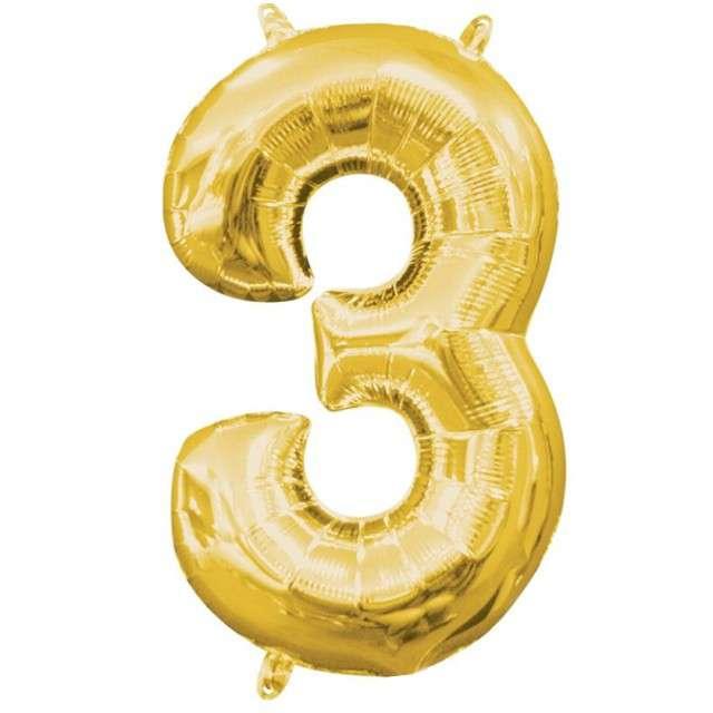"""Balon foliowy cyfra 3, 13"""", AMSCAN, złota"""