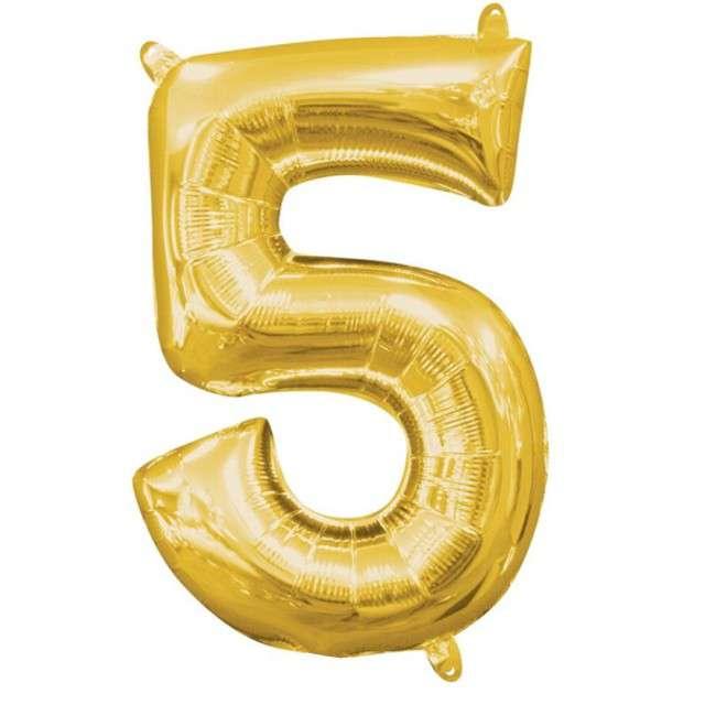 """Balon foliowy cyfra 5, 13"""", AMSCAN, złota"""
