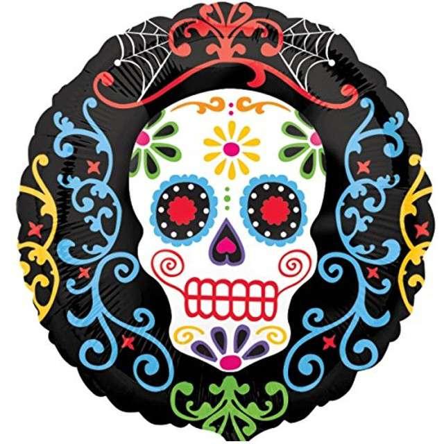 """Balon foliowy """"Day Of The Dead Skull"""", AMSCAN, 18"""" RND"""