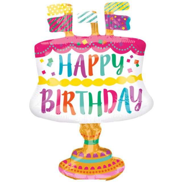 """Balon foliowy """"Happy Birthday Tort"""", AMSCAN, 12"""" SHP"""