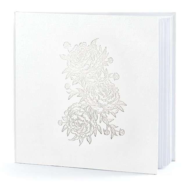 """Księga Gości """"Piwonie"""", biały, PartyDeco, 24,5 x 20 cm, 22 kartek"""