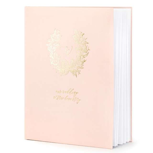 """Księga Gości """"Wianuszek"""", różowy, PartyDeco, 24,5 x 20 cm, 22 kartek"""