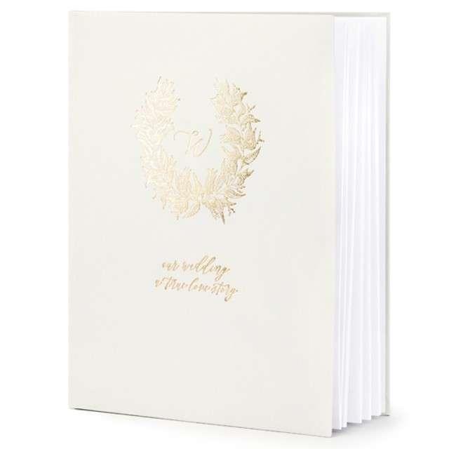 """Księga Gości """"Wianuszek"""", szary, PartyDeco, 24,5 x 20 cm, 22 kartek"""