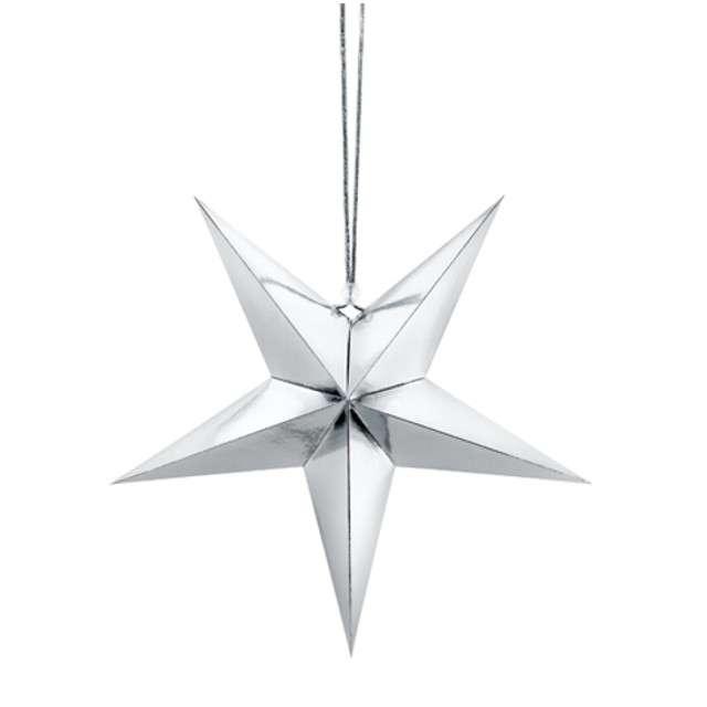 Dekoracja Gwiazda 3D papierowa PartyDeco srebrna 30cm