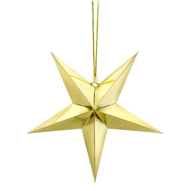 Dekoracja Gwiazda 3D papierowa PartyDeco złota 30cm