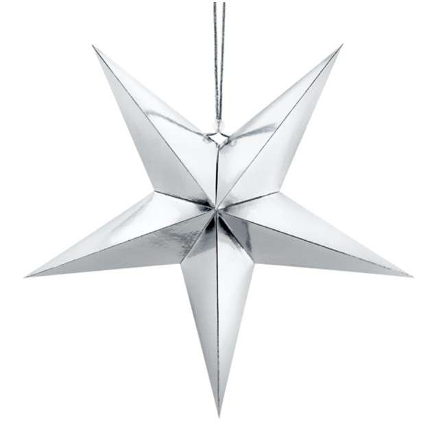"""Dekoracja """"Gwiazda 3D"""", papierowa, PartyDeco, srebrna, 45 cm"""