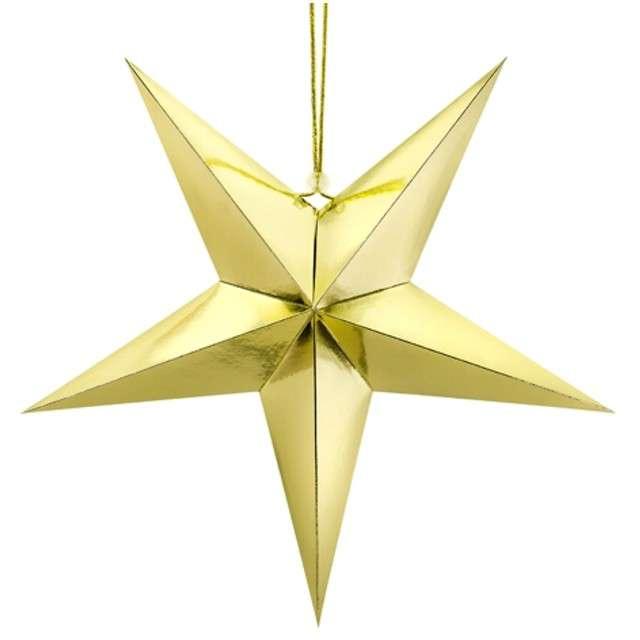 """Dekoracja """"Gwiazda 3D"""", papierowa, PartyDeco, złota, 45 cm"""