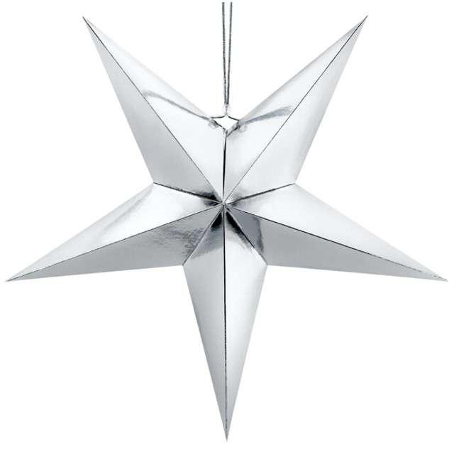 """Dekoracja """"Gwiazda 3D"""", papierowa, PartyDeco, srebna, 70 cm"""