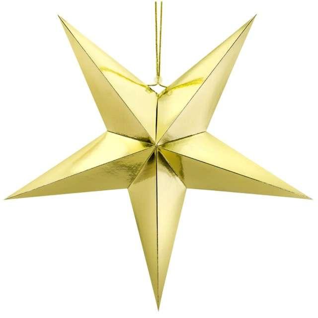 """Dekoracja """"Gwiazda 3D"""", papierowa, PartyDeco, złota, 70 cm"""