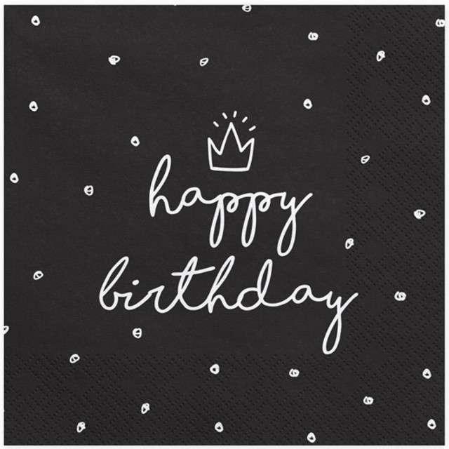 """Serwetki """"Happy Birthday"""", czarne, PartyDeco, 33 cm, 20 szt"""