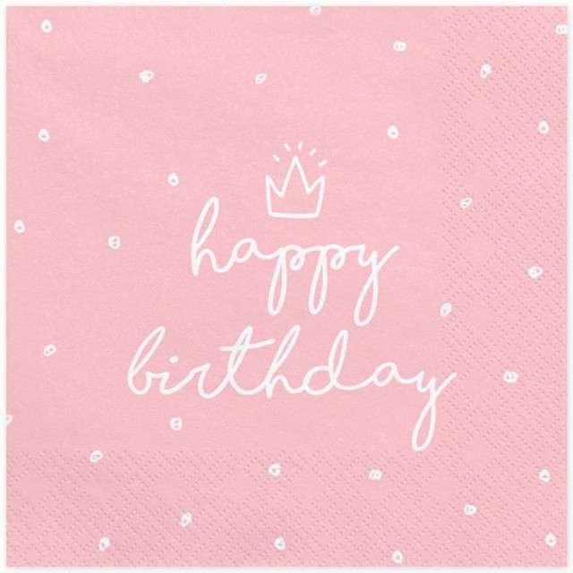 """Serwetki """"Happy Birthday"""", różowe, PartyDeco, 33 cm, 20 szt"""