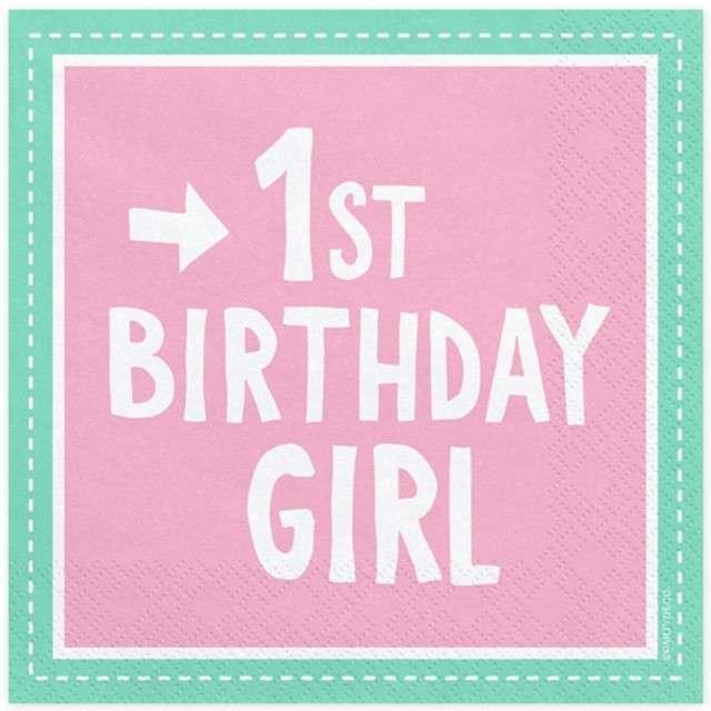 """Serwetki """"1 Urodziny - Birthday Girl"""", różowe, PartyDeco, 33 cm, 20 szt"""
