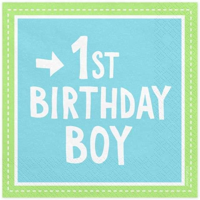 """Serwetki """"1 Urodziny - Birthday Boy"""", błękitne, PartyDeco, 33 cm, 20 szt"""