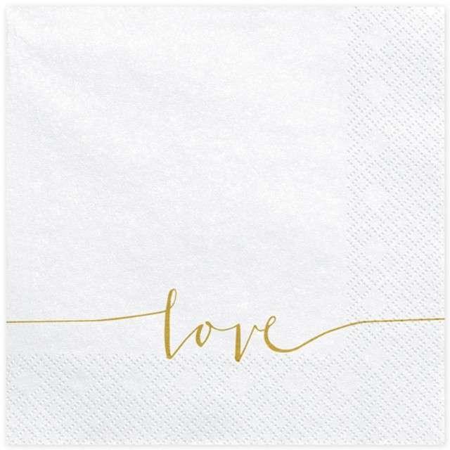 """Serwetki """"Love"""", białe, PartyDeco, 33 cm, 20 szt"""