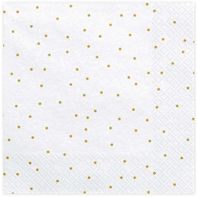 """Serwetki """"Kropeczki"""", białe, PartyDeco, 33 cm, 20 szt"""