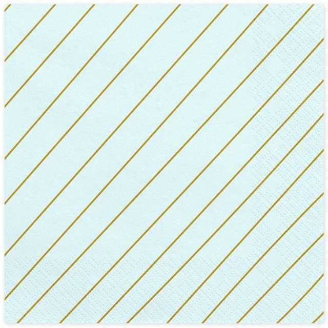 """Serwetki """"Paski"""", błękitne, PartyDeco, 33 cm, 20 szt"""