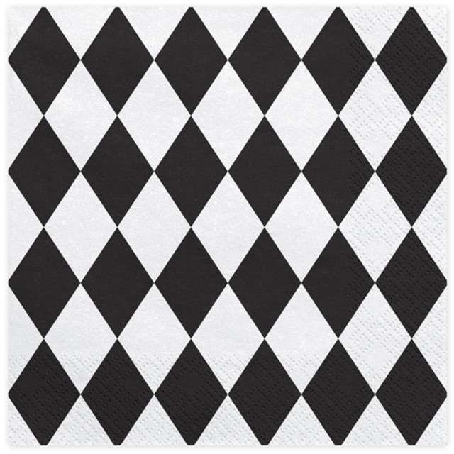 "Serwetki ""Harlequin"", czarne, PartyDeco, 33 cm, 20 szt"