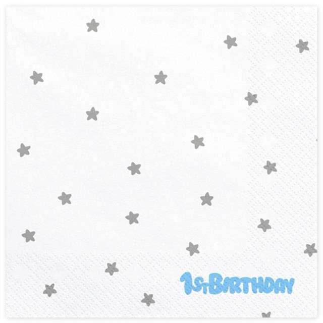 """Serwetki """"1 Urodziny - 1st Birthday """", białe, PartyDeco, 33 cm, 20 szt"""
