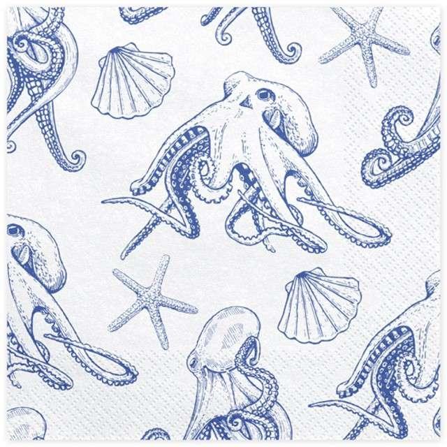 """Serwetki """"Ahoy - Ośmiornice"""", białe, PartyDeco, 33 cm, 20 szt"""