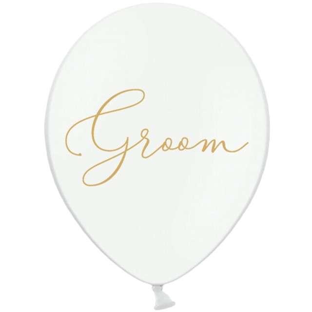 """Balony """"Groom"""", białe, 12"""" STRONG,  50 szt"""