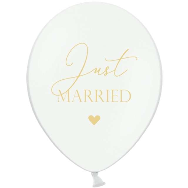 "Balony ""Just Married"", białe, 12"" STRONG,  50 szt"