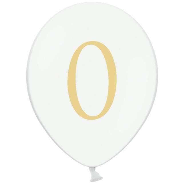 """Balony """"Cyfra 0"""", białe, 12"""" STRONG,  50 szt"""