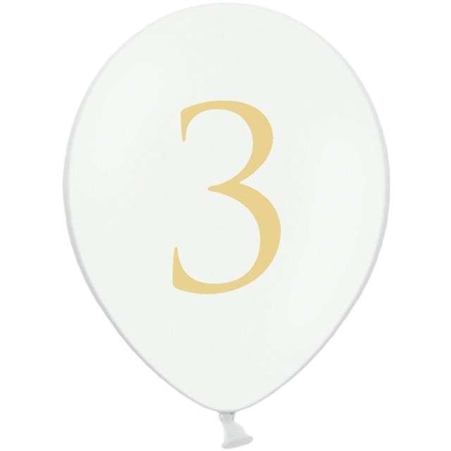 """Balony """"Cyfra 3"""", białe, 12"""" STRONG,  50 szt"""