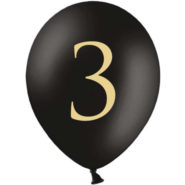 "Balony ""Cyfra 3"", czarne, 12"" STRONG,  50 szt"