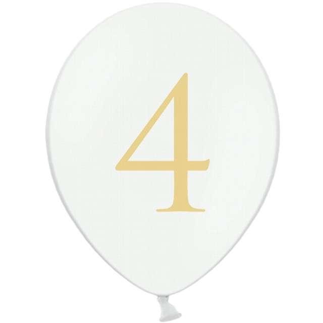 """Balony """"Cyfra 4"""", białe, 12"""" STRONG,  50 szt"""