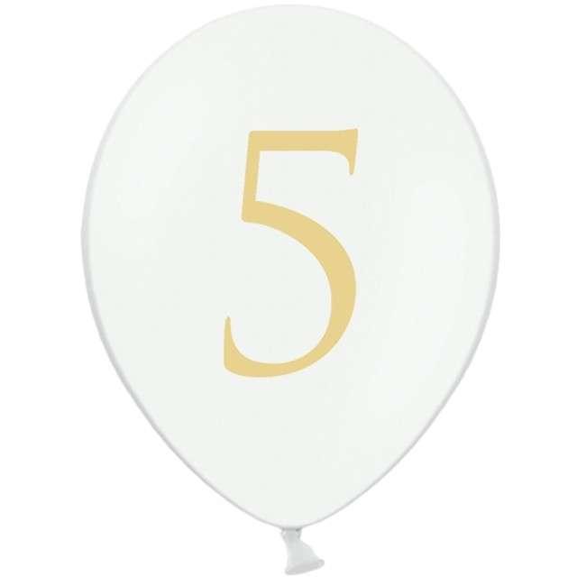 """Balony """"Cyfra 5"""", białe, 12"""" STRONG,  50 szt"""
