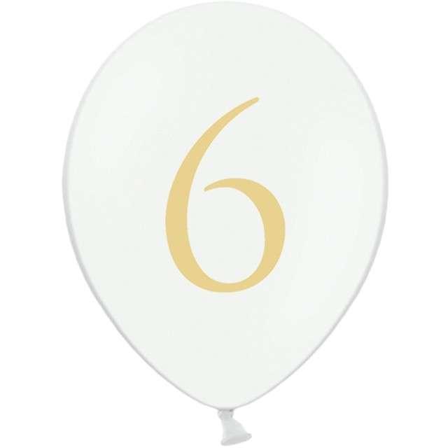 """Balony """"Cyfra 6"""", białe, 12"""" STRONG,  50 szt"""