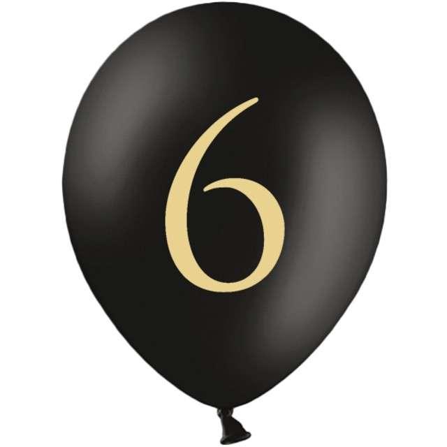 "Balony ""Cyfra 6"", czarne, 12"" STRONG,  50 szt"