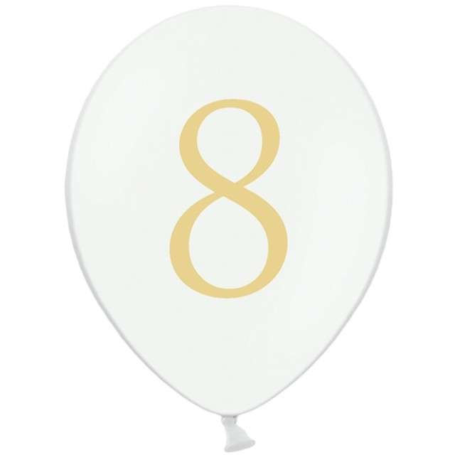 """Balony """"Cyfra 8"""", białe, 12"""" STRONG,  50 szt"""