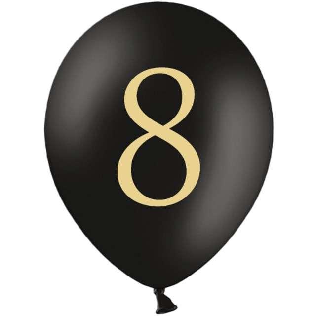 "Balony ""Cyfra 8"", czarne, 12"" STRONG,  50 szt"