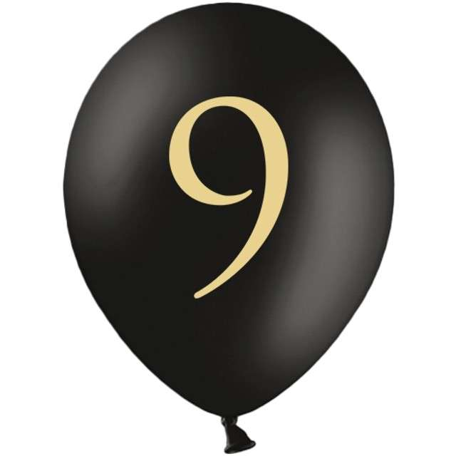 "Balony ""Cyfra 9"", czarne, 12"" STRONG,  50 szt"