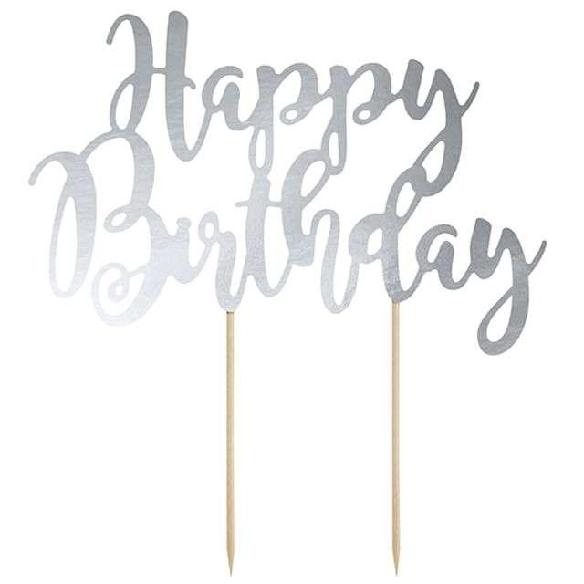 """Dekoracja na tort """"Happy Birthday"""", srebrna, PartyDeco, 22,5 cm"""