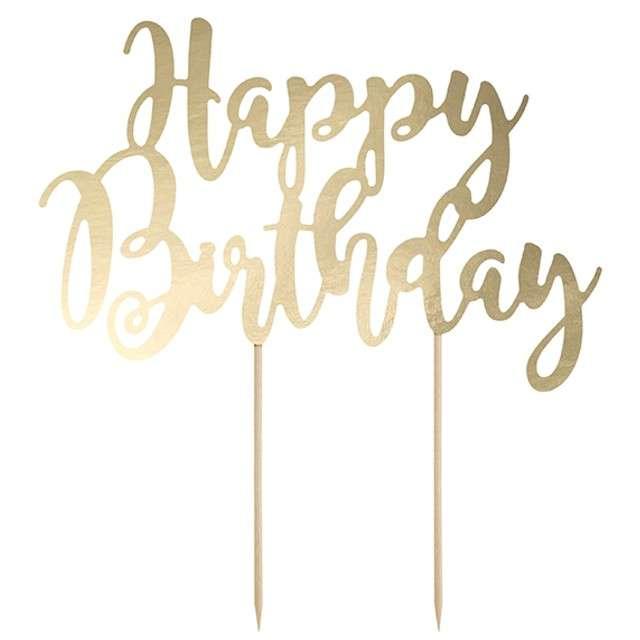 """Dekoracja na tort """"Happy Birthday"""", złota, PartyDeco, 22,5 cm"""