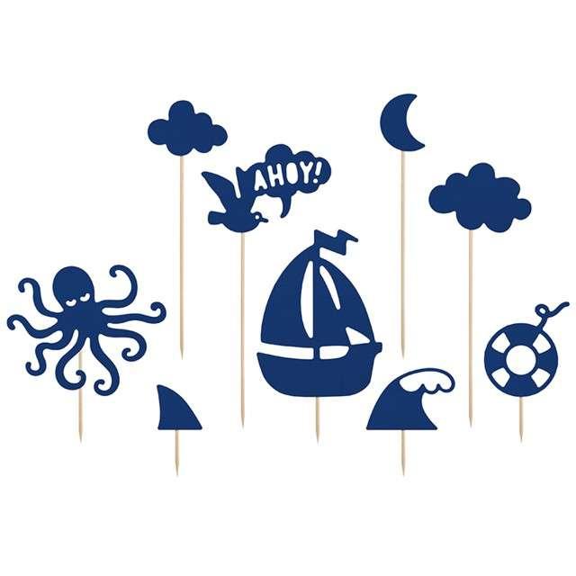 """Dekoracja na tort """"Ahoy"""", PartyDeco, 9,5 - 22,5 cm, 9 szt"""
